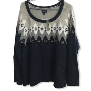 NWT AEO Women's Sweater Argyle XL *Stain*
